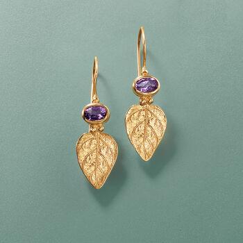 .90 ct. t.w. Amethyst Leaf Earrings in 14kt Yellow Gold.