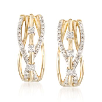 .23 ct. t.w. Diamond Crisscross Earrings in 14kt Yellow Gold, , default
