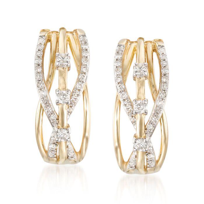 .23 ct. t.w. Diamond Crisscross Earrings in 14kt Yellow Gold, , default