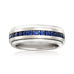 Men's 1.50 ct. t.w. Sapphire Wedding Ring in Tungsten Carbide, , default