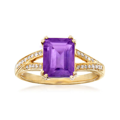 2.30 Carat Amethyst and .12 ct. t.w. Diamond Ring in 14kt Yellow Gold