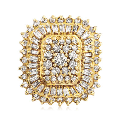 C. 1970 Vintage 2.50 ct. t.w. Round and Baguette Diamond Rectangular Ring in 14kt Yellow Gold, , default