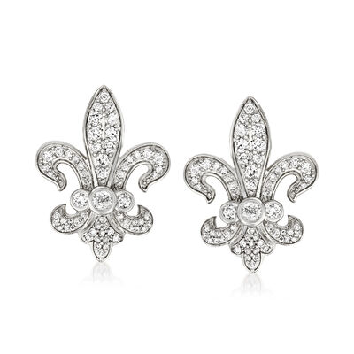 1.00 ct. t.w. Diamond Fleur-De-Lis Earrings in Sterling Silver