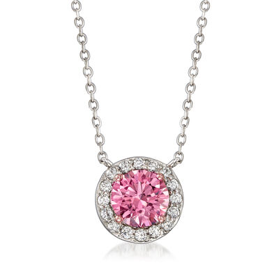 Pink CZ and .43 ct. t.w. White CZ Halo Necklace in Sterling Silver, , default