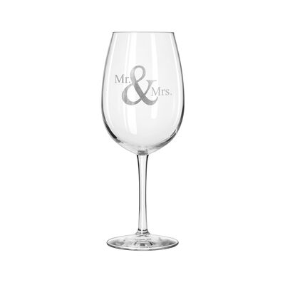 """Mr. & Mrs."" Set of 2 Wine Glasses, , default"