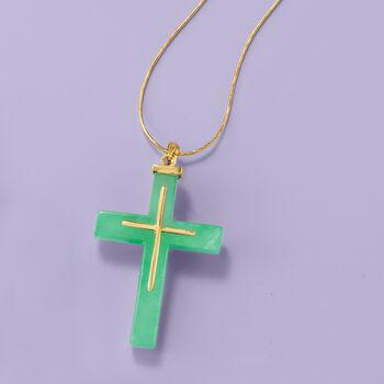 23x33mm Green Jade Cross Pendant in 14kt Yellow Gold