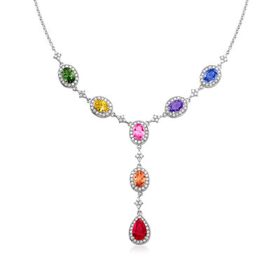 6.50 ct. t.w. Simulated Multi-Gemstone and 1.45 ct. t.w. CZ Y-Necklace in Sterling Silver, , default