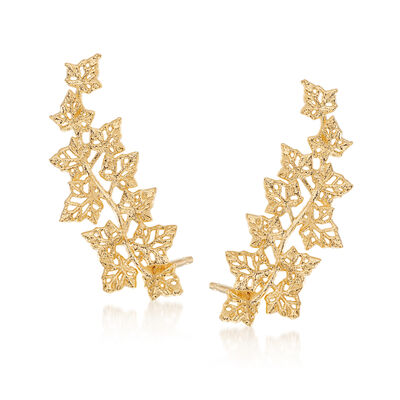 Italian 14kt Yellow Gold Leaf Ear Climbers, , default