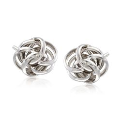 Italian Sterling Silver Knot Earrings, , default