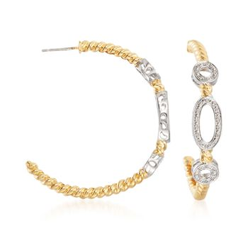""".18 ct. t.w. Diamond Oval and Circle Hoop Earrings in Two-Tone Sterling Silver. 1 5/8"""", , default"""