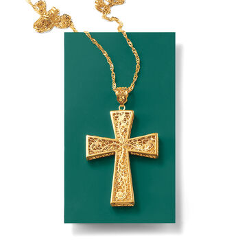 Italian 18kt Yellow Gold Brushed and Polished Floral Filigree Cross Pendant Necklace, , default