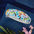 .20 ct. t.w. White Topaz and Multicolored Enamel Critter Bangle Bracelet in Sterling Silver