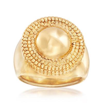 Italian 14kt Yellow Gold Milgrain-Frame Ring, , default