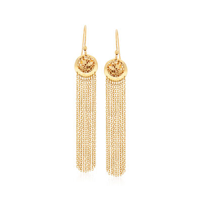 Italian 14kt Yellow Gold Filigree Tassel Drop Earrings