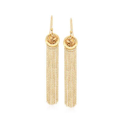Italian 14kt Yellow Gold Filigree Tassel Drop Earrings, , default