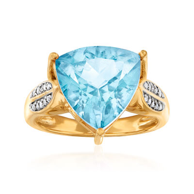 5.70 Carat Sky Blue Topaz and .10 ct. t.w. White Topaz Ring in 18kt Gold Over Sterling