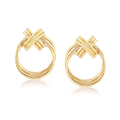 Textured Circle Earrings in 14kt Yellow Gold, , default