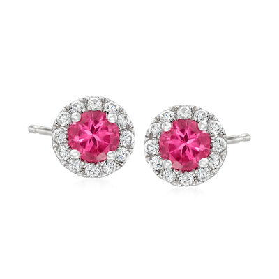 C. 1990 Vintage .51 ct. t.w. Pink Spinel and .24 ct. t.w. Diamond Earrings in 14kt White Gold