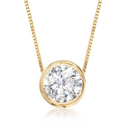 ".75 Carat Bezel-Set Diamond Necklace in 14kt Yellow Gold. 18"", , default"