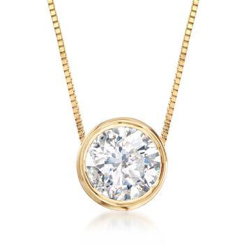 ".75 Carat Bezel-Set Diamond Necklace in 14kt Yellow Gold. 18"", , default"