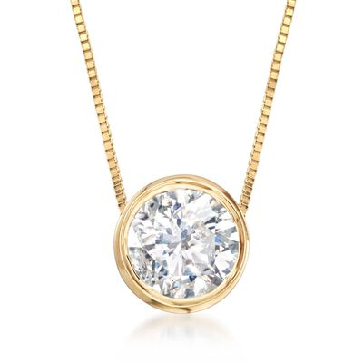 .75 Carat Bezel-Set Diamond Necklace in 14kt Yellow Gold, , default