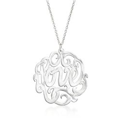 "Sterling Silver ""Love"" Script Pendant Necklace. 17.5"", , default"