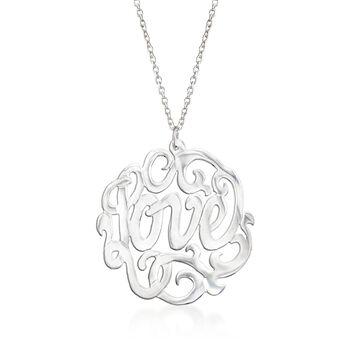 """Sterling Silver """"Love"""" Script Pendant Necklace. 17.5"""", , default"""