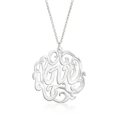 "Sterling Silver ""Love"" Script Pendant Necklace, , default"