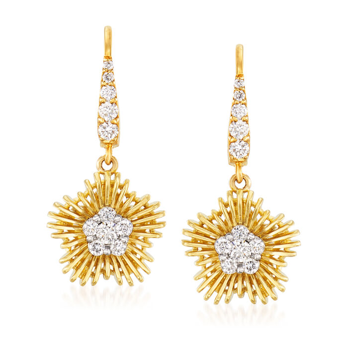 Simon G. .44 ct. t.w. Diamond Flower Drop Earrings in 18kt Yellow Gold, , default