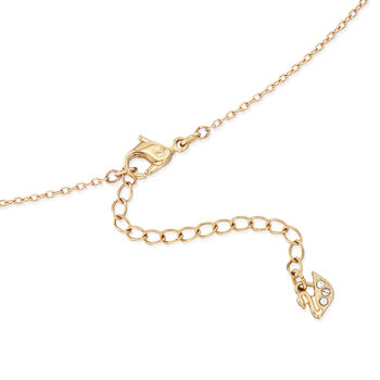 """Swarovski Crystal """"Latitude"""" Clear Crystal Halo Necklace in Gold-Plated Metal. 16.5"""", , default"""