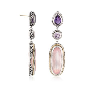 "Andrea Candela ""Dulce-Baya"" Rose Quartz and 1.50 ct. t.w. Amethyst Earrings in Sterling Silver and 18kt Yellow Gold, , default"