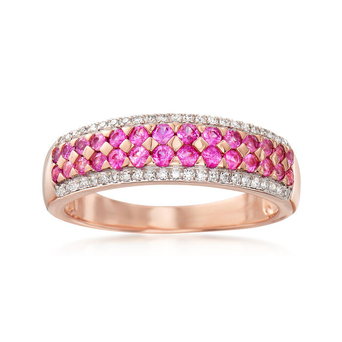 .50 ct. t.w. Pink Sapphire Ring with .12 ct. t.w. Diamonds in 14kt Rose Gold, , default