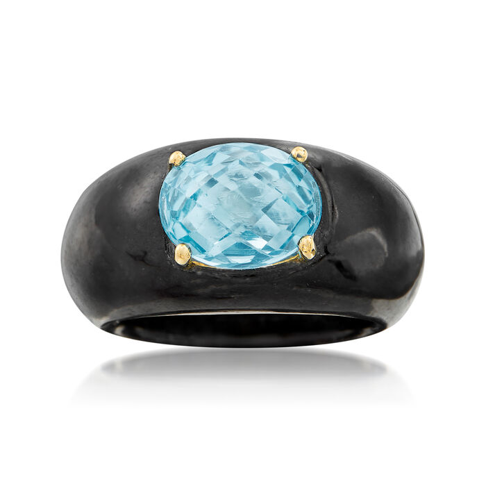 Black Jade and 3.20 Carat Blue Topaz Ring with 14kt Yellow Gold, , default
