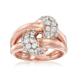 1.25 ct. t.w. Diamond Knot Ring in 14kt Rose Gold, , default
