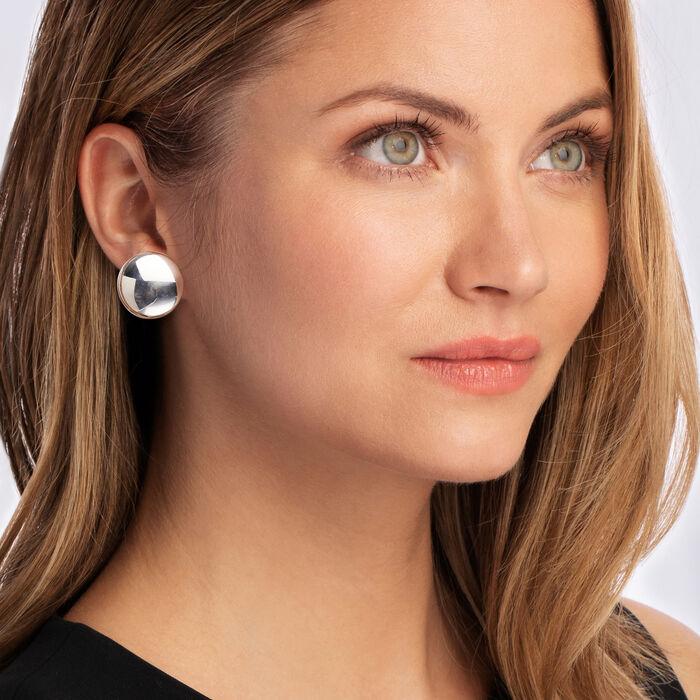 Italian Sterling Silver Dome Clip-On Earrings