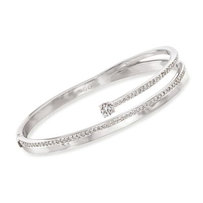 "Swarovski Crystal ""Fresh"" Crystal Bangle Bracelet in Silvertone, , default"