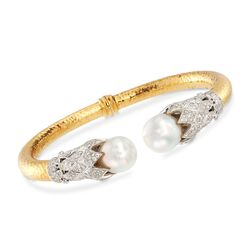 "C. 1990 Vintage 13x11mm Cultured South Sea Pearl and 1.50 ct. t.w. Diamond Cuff Bracelet in 18kt Two-Tone Gold. 7"", , default"