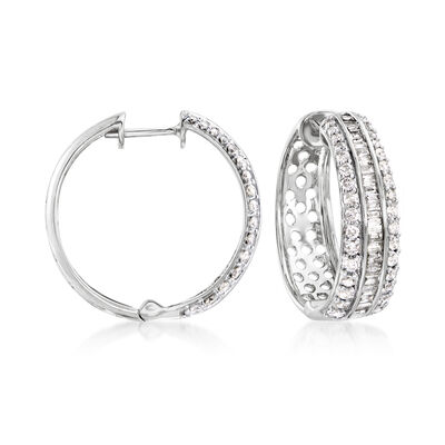 1.50 ct. t.w. Round and Baguette Diamond Hoop Earrings in 14kt White Gold, , default