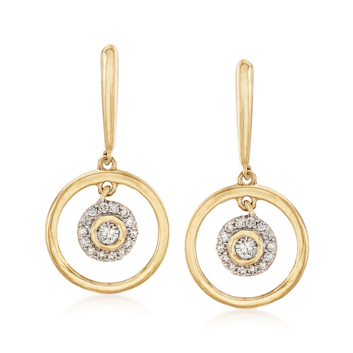 .20 ct. t.w. Diamond Circle Drop Earrings in 14kt Yellow Gold, , default