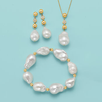 12-14mm Cultured Baroque Pearl and .14 ct. t.w. Diamond Drop Earrings in 14kt Yellow Gold