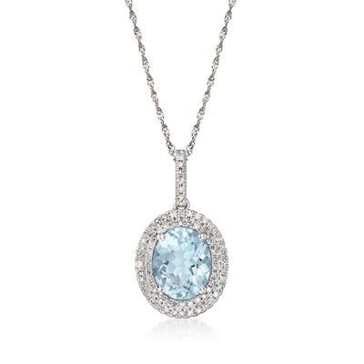 2.20 Carat Aquamarine and .34 ct. t.w. Diamond Halo Pendant Necklace in 14kt White Gold, , default