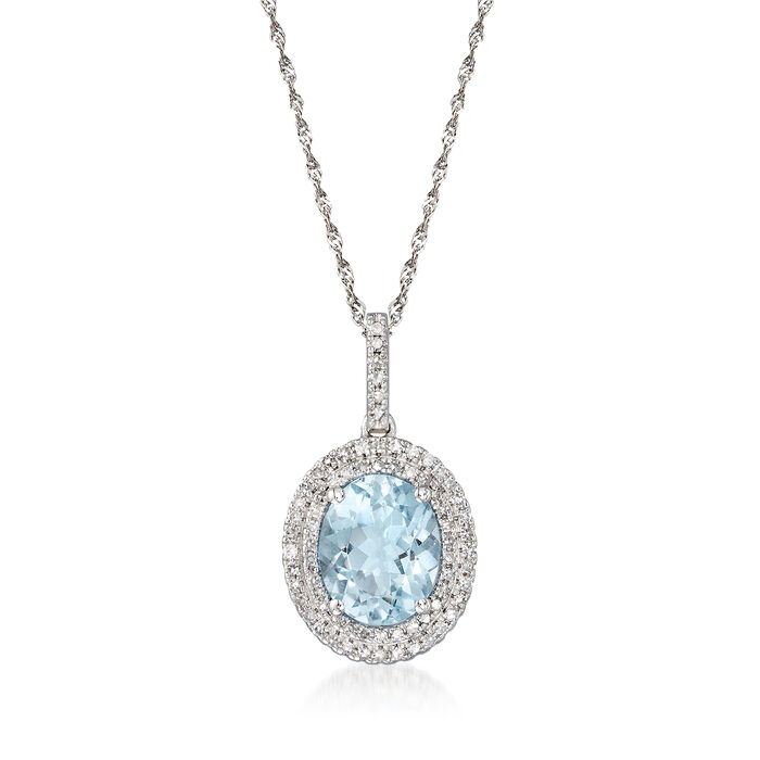 "2.20 Carat Aquamarine and .34 ct. t.w. Diamond Halo Pendant Necklace in 14kt White Gold. 16"", , default"