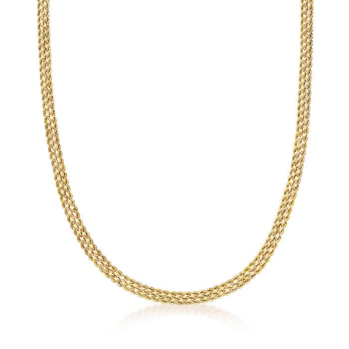Italian 14kt Yellow Gold Three-Strand Rope Chain, , default