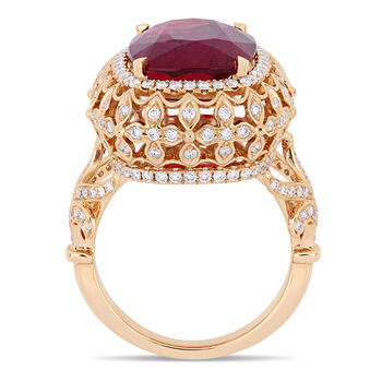 7.63 Carat Certified Pink Tourmaline and 1.12 ct. t.w. Diamond Cocktail Ring in 14kt Rose Gold. Size 7