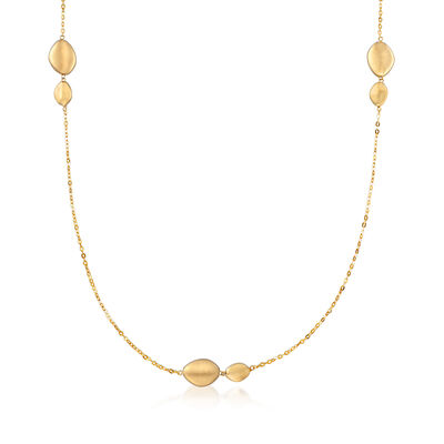 Italian 18kt Yellow Gold Stationed Bead Necklace, , default