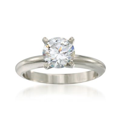 18kt White Gold Four-Prong Engagement Ring Setting, , default