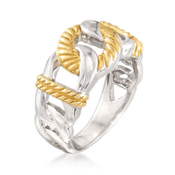 Two-Tone Sterling Silver Cabled and Polished Link Motif Ring, , default