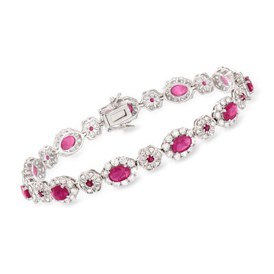 5.30 ct. t.w. Ruby and 3.86 ct. t.w. Diamond Bracelet in 18kt White Gold, , default
