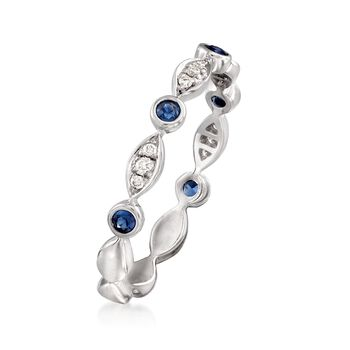 .20 ct. t.w. Bezel-Set Sapphire Ring with Diamond Accents in 14kt White Gold, , default
