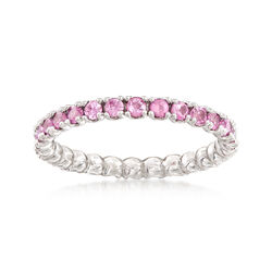 1.00 ct. t.w. Pink Sapphire Stackable Eternity Band in Sterling Silver, , default